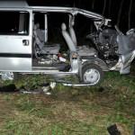 Policjanci pracowali na miejscu zdarzenia drogowego. Przyczyną wypadku był jeleń, który wbiegł na jezdnię