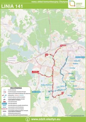 Schemat trasy linii nr 141