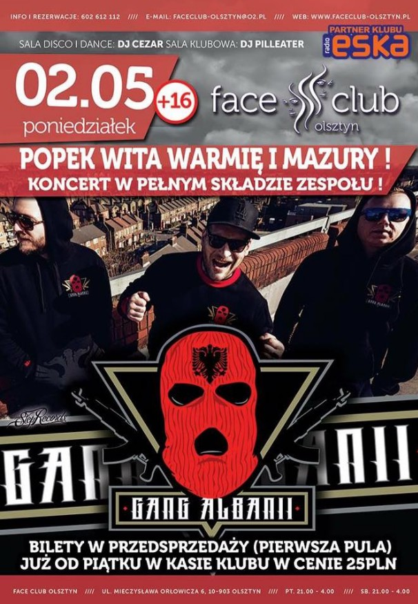 Koncert Popek & Gang Albanii w Face Clubie @ Face Club | Olsztyn | warmińsko-mazurskie | Polska
