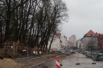Przebudowa ul. Pieniężnego w Olsztynie - listopad 2017